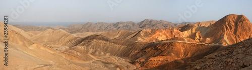 Leinwandbild Motiv Desert landscape panorama at sunset