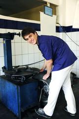 portrait of a car mechanic at work