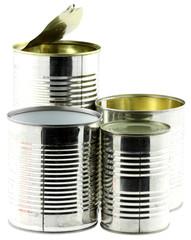 boîtes de conserves, fond blanc