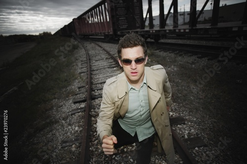 Man Runs Alongside A Train