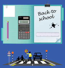 Back to school set with road school crossing