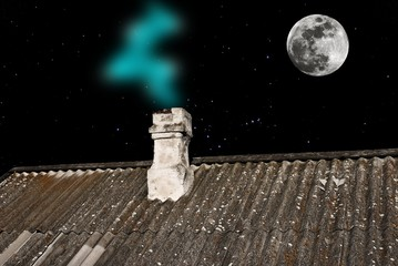 house roof at the night