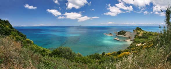panorama view to cape drasitis on corfu island, greece