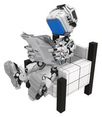 Blue Screen Robot, Sitting Reading