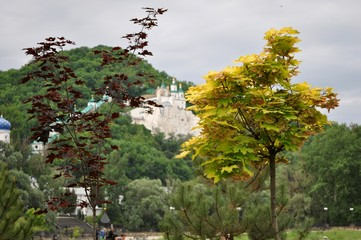 The Sviatohirsk Lavra over the trees
