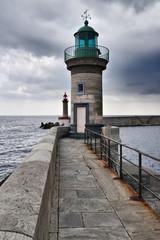 France, Corsica, Bastia, the port lights and the port entrance