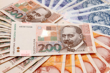 Croatian Kuna banknotes layed out