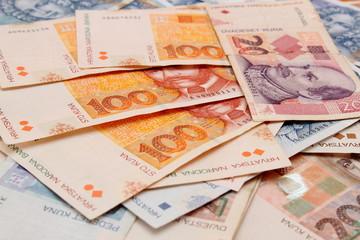Croatian Kuna banknotes layed out