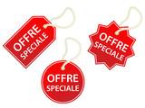 Etiquettes OFFRE SPECIALE (vente soldes prix commerce tampons) poster