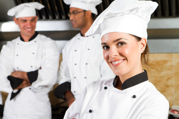 pretty baker with colleagues