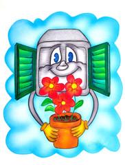 Illustrazione -  Sogno - Compuret alla finestra con fiori