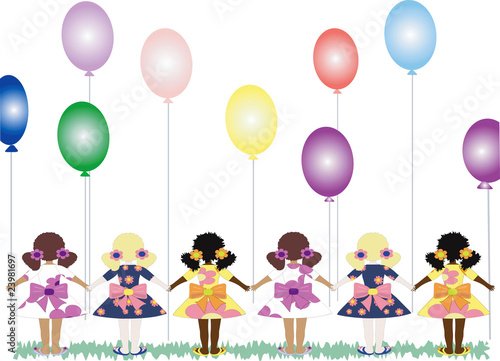 Girls with balloons