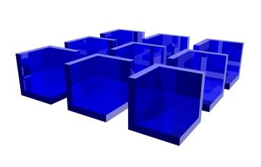Nine blue cubicles