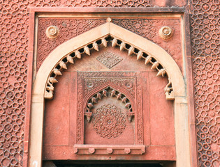 Beautiful wall carvings on famous  Agra Fort