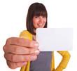 Frau mit großer Hand und Visitenkarte
