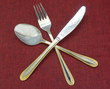 Silverware Set with Fork, Knife, and Spoon on the tablecloth