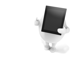 Cartoon Character Holidng a Tablet Computer