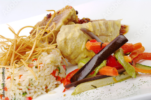 Rice with vegetables and fish (Selective Focus)