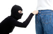 thief in balaclava - pickpocket in action