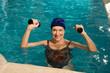 Beautiful woman in a pool