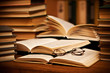 Leinwandbild Motiv opened book, lying on the bookshelf