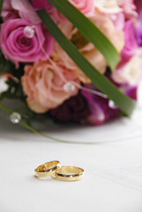 wedding rings on the table