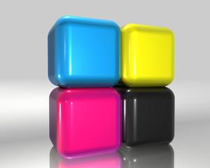 CMJN Cubes empilés