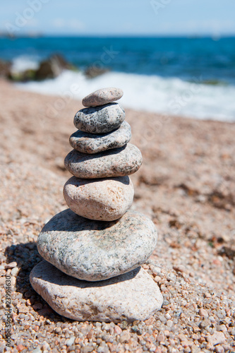 Beach with stacked stones