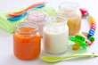 baby food: apple and carrot puree, rice pudding and yogurt - 23996240