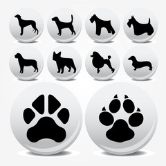 Dogs collection vector icons and footprints