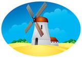 Windmill, mill, harvest poster