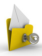 Yellow computer folder with mail on white background. Isolated 3