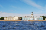 Historical building on quay of Neva river, St.-Petersburg, Russi poster