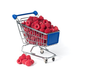 metal shopping trolley filled with  raspberry