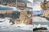 Camogli sea storm collection poster