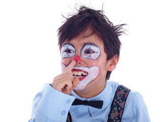 child clown picking his nose with his pointer finger