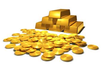 Goldbarren und Goldmünzen - Motiv 1 - freigestellt