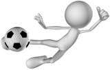 3d human character football jump poster