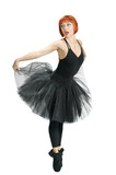 Red ballerina wearing black tutu