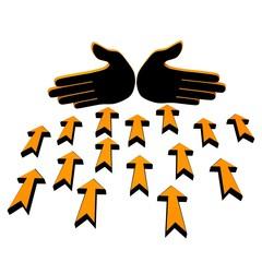 Hands stop arrows