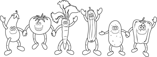 Funny vegetables - Immagine in bianco e nero da colorare