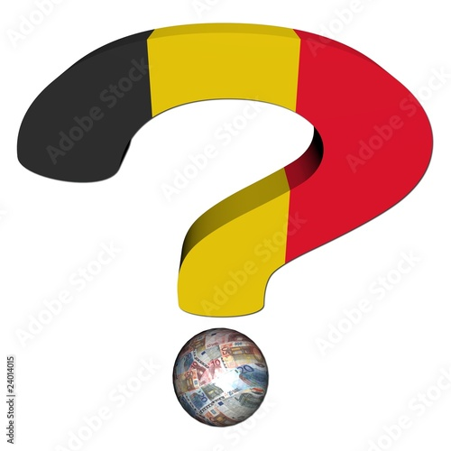 question mark with Belgian flag and euros illustration