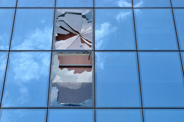 Broken glass of an office building window