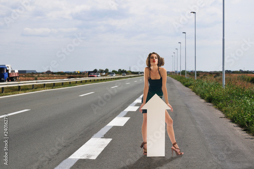 Woman hitchhike