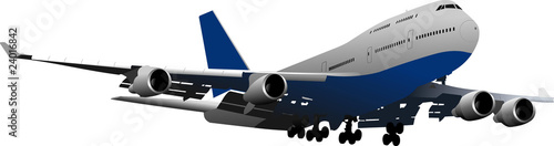 Landing Airplane. Vector illustration