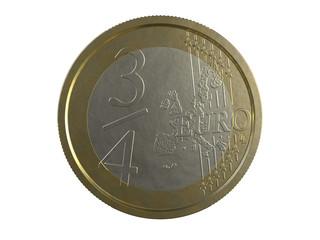 3/4 EURO on white background