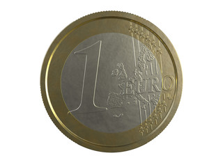 One EURO on white background