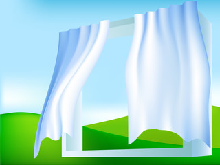 Abstract frame window with white blue curtains