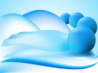 Abstract perspective balls with wave and figure