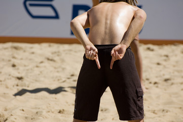 the beach volleyball